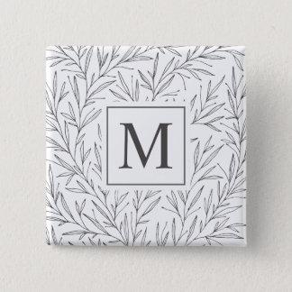 Elegant Minimalist Vines Monogram Pin Button