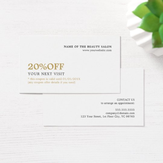 Elegant Minimalist White Faux Gold Coupon Beauty Business Card