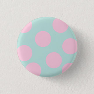 elegant mint and large pink polka dots pattern 1 inch round button