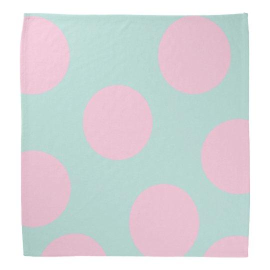 elegant mint and large pink polka dots pattern bandanna