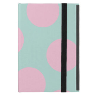 elegant mint and large pink polka dots pattern case for iPad mini