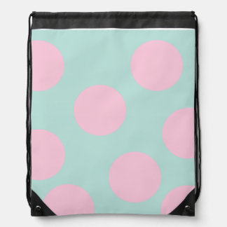 elegant mint and large pink polka dots pattern drawstring bag