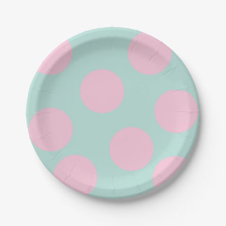 elegant mint and large pink polka dots pattern paper plate