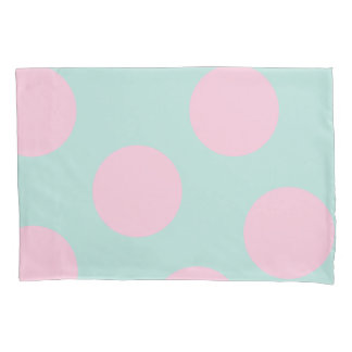 elegant mint and large pink polka dots pattern pillowcase