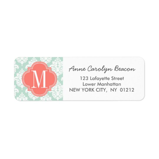 Elegant Mint Damask Personalized Return Address Label