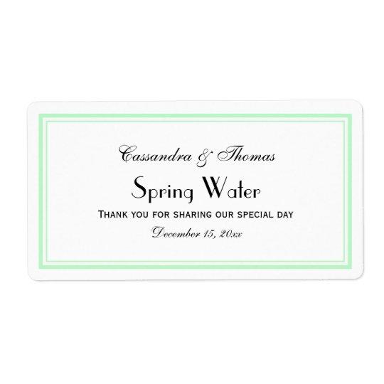 Elegant Mint Framed H Water Bottle Label