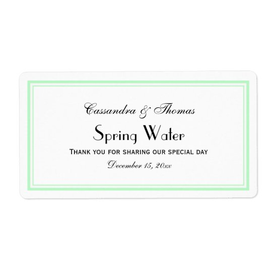 Elegant Mint Framed H Water Bottle Label Shipping Label
