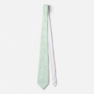Elegant Mint-Green 2 Floral Damasks Tie