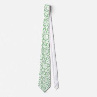 Elegant Mint-Green And White Floral Damasks Tie