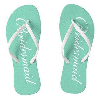 Elegant mint green bridesmaid wedding flip flops