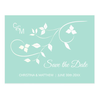 Elegant Mint Green & Grey Wedding SAVE THE DATE Postcard