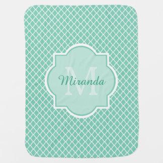 Elegant Mint Green Quatrefoil Monogram With Name Baby Blanket