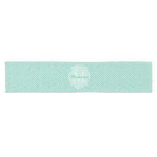 Elegant Mint Green Quatrefoil Monogram With Name Short Table Runner