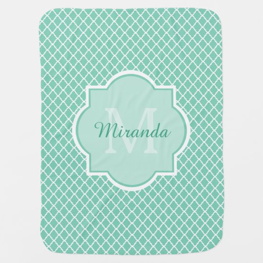 Elegant Mint Green Quatrefoil Monogram With Name Stroller Blanket
