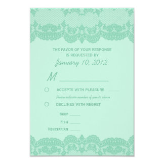 """Elegant Mint Lace Wedding RSVP with Meal Options 3.5"""" X 5"""" Invitation Card"""