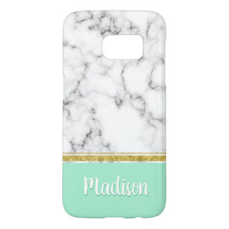 Elegant Mint Marble and Gold Custom Name Samsung Galaxy S7 Case