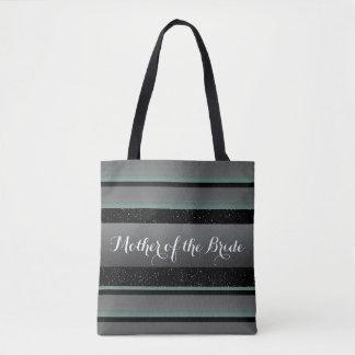 Elegant Mint & Sprinkles Striped Mother of Bride Tote Bag