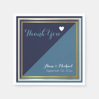 elegant & modern 2 tone blue wedding disposable napkin