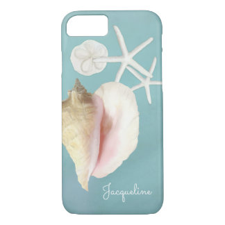 Elegant Modern Beach Conch Shell Starfish Art iPhone 8/7 Case