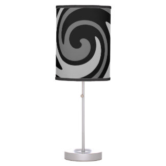 Elegant modern black and gray swirl table lamp