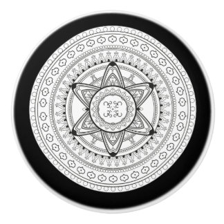 Elegant Modern Black and White Mandala Knob
