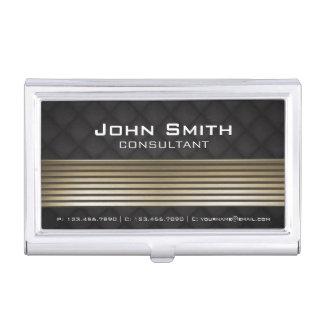 Elegant Modern Black & Gold Metal Black Leather Business Card Holder