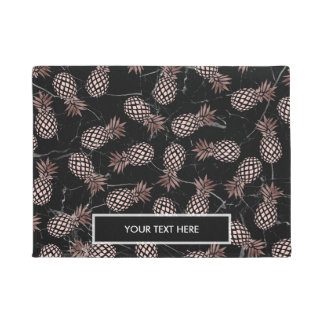 elegant modern black marble rose gold pineapple doormat