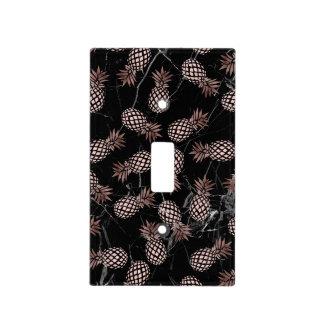 elegant modern black marble rose gold pineapple light switch cover