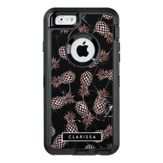 elegant modern black marble rose gold pineapple OtterBox defender iPhone case