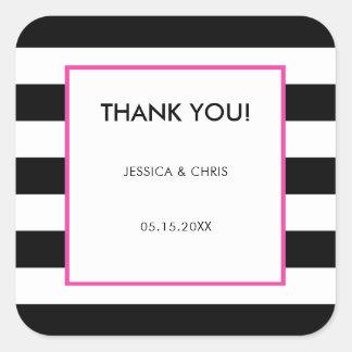 Elegant Modern Bold Black White Hot Pink Stripes Square Sticker