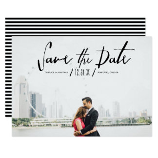 Elegant Modern Calligraphy Photo Save the Date Card