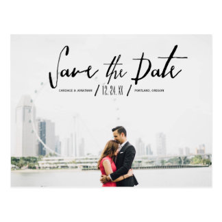 Elegant Modern Calligraphy Save the Date Postcard