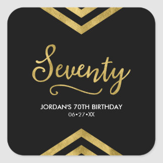 Elegant Modern Chevron Geometric 70th Birthday Square Sticker