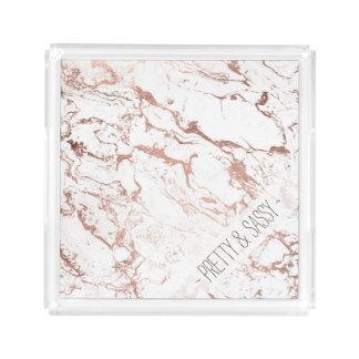 Elegant modern chic faux rose gold white marble acrylic tray