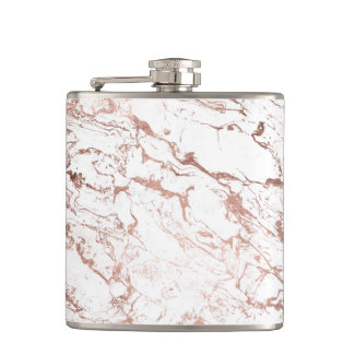 Elegant modern chic faux rose gold white marble flasks
