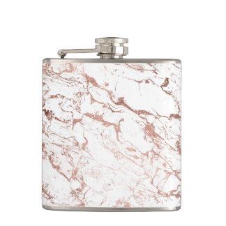 Elegant modern chic faux rose gold white marble flasks