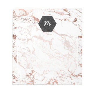 Elegant modern chic faux rose gold white marble notepad