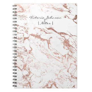 Elegant modern chic faux rose gold white marble spiral notebook