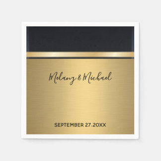 Elegant modern chic  gold/black wedding disposable napkin