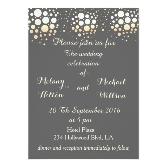 Elegant modern chic gold/bronze confetti wedding card