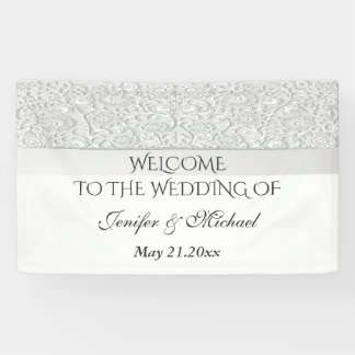 Elegant modern chic white floral wedding banner