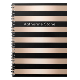 Elegant modern chick rose gold black striped notebook