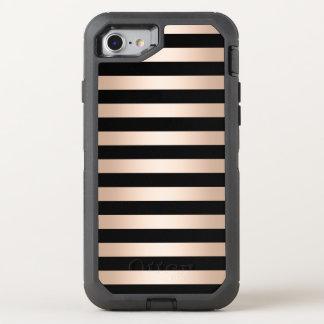 Elegant modern chick rose gold black striped OtterBox defender iPhone 8/7 case