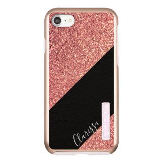 Elegant modern chick rose gold glitter black incipio DualPro shine iPhone 8/7 case