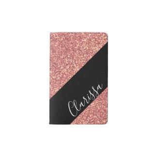 Elegant modern chick rose gold glitter black pocket moleskine notebook