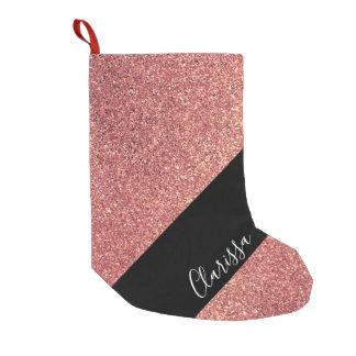 Elegant modern chick rose gold glitter black small christmas stocking