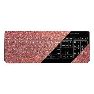 Elegant modern chick rose gold glitter black wireless keyboard