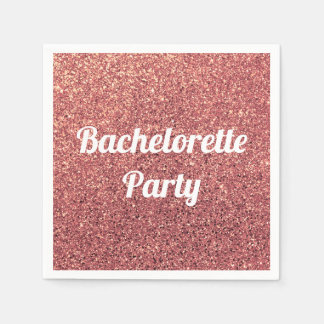 elegant modern chick rose gold glitter bridesmaid disposable napkins