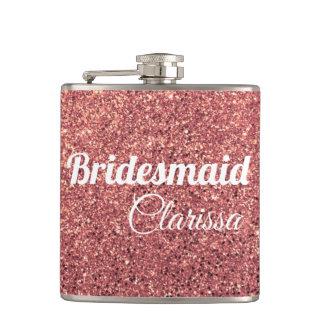 elegant modern chick rose gold glitter bridesmaid hip flask