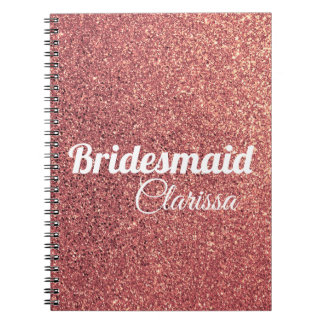 elegant modern chick rose gold glitter bridesmaid spiral notebook